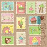 Cakes and Desserts Postage Stamps. Sweet Cakes and Desserts Postage Stamps Royalty Free Stock Images