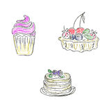 Cakes, desserts, sketch, doodle, vector, illustration Royalty Free Stock Image