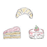 Cakes, desserts, sketch, doodle, vector, illustration Royalty Free Stock Photography