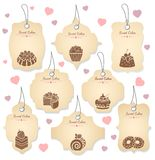 Cakes and desserts tag labels Royalty Free Stock Image