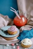 Cakes of different colors in still life royalty free stock images