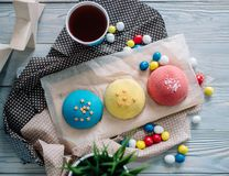 Cakes of different colors in still life royalty free stock photos