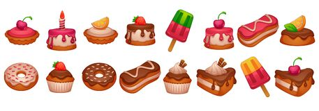 Cakes, donuts and desserts, shiny and glossy cartoon objects on vector illustration