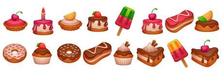 Cakes, donuts en desserts, glanzende en glanzende beeldverhaalvoorwerpen  vector illustratie