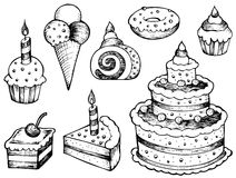 Cakes drawings collection. Vector illustration Stock Images