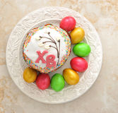 Cakes for Easter and eggs Royalty Free Stock Photos