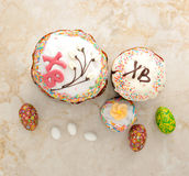 Cakes for Easter and eggs Stock Photography