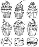 Cakes en cupcakes gebakken chocoladedessert, zwart-witte bakkerijreeks, vector illustratie