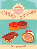 Cakes en Gebakjesaffiche Stock Afbeeldingen