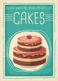 Cakes en snoepjes retro afficheontwerp Stock Foto