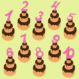 Cakes with figures. Cakes with numbers from one to ten Royalty Free Stock Images