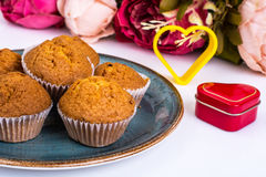 Cakes, flowers, gifts for Valentine`s Day Stock Photo