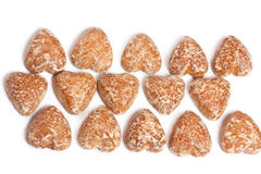 Cakes in the form of heart in rows Stock Image