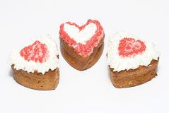 Cakes in form heart on white background Stock Photography