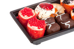 Cakes in the form of Japanese sushi isolated Stock Photography