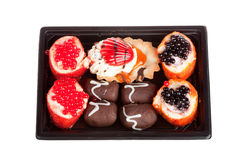 Cakes in the form of Japanese sushi isolated Stock Image