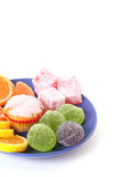 Cakes and Fruit jelly Stock Image