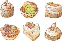Cakes with fruit Royalty Free Stock Image