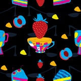 Cakes Futuristic Seamless Pattern with Coffee Cup Royalty Free Stock Photo