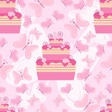 Cakes and gifts pattern Royalty Free Stock Images