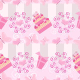 Cakes and gifts pattern Stock Photo