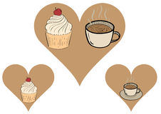 Cakes in hearts Royalty Free Stock Image