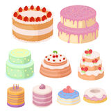Beautifully decorated cakes and muffins.Cakes icon in set collection. Cakes for the holidays. A set of different sweets. Beautifully decorated cakes and Royalty Free Stock Images