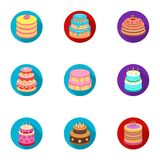 Cakes for the holidays. A set of different sweets. Beautifully decorated cakes and muffins.Cakes icon in set collection Stock Image