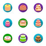 Cakes for the holidays. A set of different sweets. Beautifully decorated cakes and muffins.Cakes icon in set collection Stock Photo