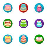 Cakes for the holidays. A set of different sweets. Beautifully decorated cakes and muffins.Cakes icon in set collection Royalty Free Stock Photos