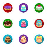 Cakes for the holidays. A set of different sweets. Beautifully decorated cakes and muffins.Cakes icon in set collection Stock Images