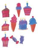 Cakes and ice cream royalty free stock photo