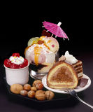Cakes and ice cream Stock Photography