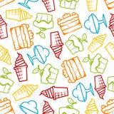 Cakes and ice cream seamless pattern Stock Photos