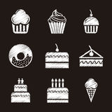 Cakes icons Stock Photos