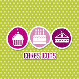Cakes icons Stock Photography
