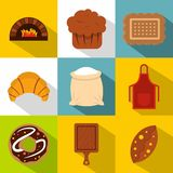 Cakes icons set, flat style. Cakes icons set. Flat illustration of 9 cakes vector icons for web Stock Image