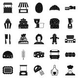Cakes icons set, simple style Stock Photos