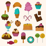 Cakes icons vector set on white background Royalty Free Stock Photography