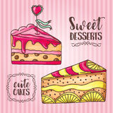Cakes illustration. Pastry and bakery background. Vector design for baker shop, cafe. Menu elements for cafeteria Stock Images