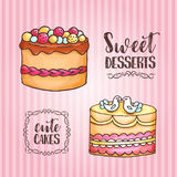 Cakes illustration. Pastry and bakery background. Vector design for baker shop, cafe. Menu elements for cafeteria Royalty Free Stock Photography