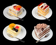 Cakes isolated on black Royalty Free Stock Photography