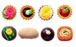 Cakes isolated on white stock images