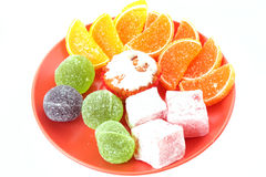 Cakes, jelly and candies Royalty Free Stock Photos