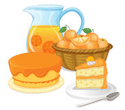 Cakes and juice drinks Royalty Free Stock Photos