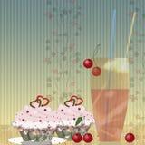 Cakes, kers en glas Royalty-vrije Stock Afbeelding