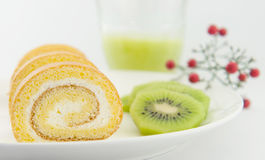 Cakes and kiwi for afternoon tea Stock Image