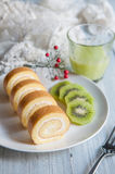Cakes and kiwi for afternoon tea Stock Photos