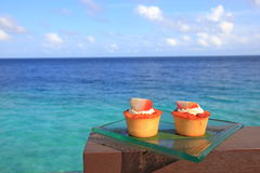 Cakes by the lagoon stock image