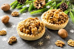 Cakes with lemon jam and caramelized walnuts. Two nut cakes with lemon jam and caramelized walnuts. Decorated Christmas tree branches. Delicious Christmas Royalty Free Stock Photo